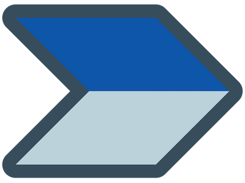 Blue and grey chevron arrow