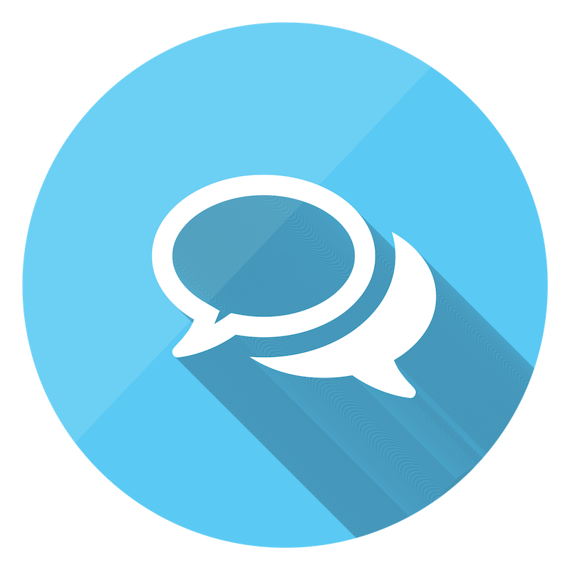 Blue sharing comments icon