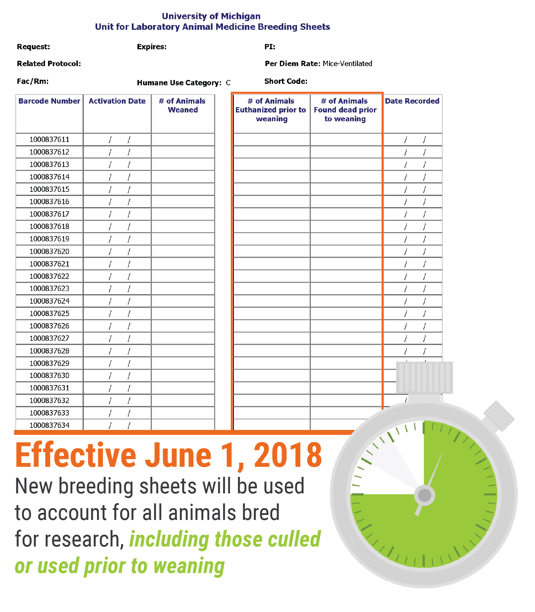 New breeding sheet with reminder icon denoting June 1 effective date