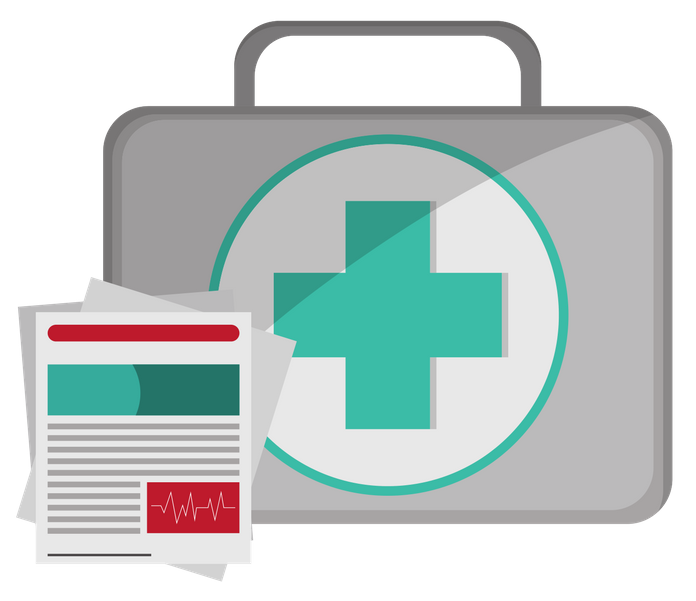 First aid briefcase with safety report icon