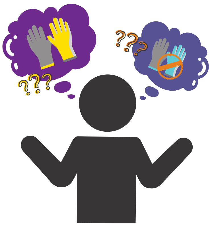 person icon showing confusion about wearing gloves outside of the laboratory