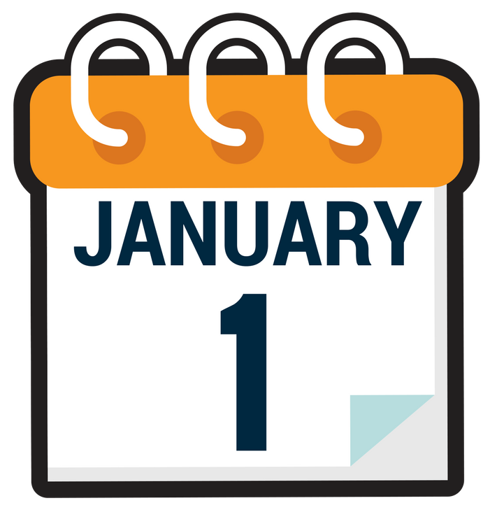 Orange January 1, 2018 calendar icon