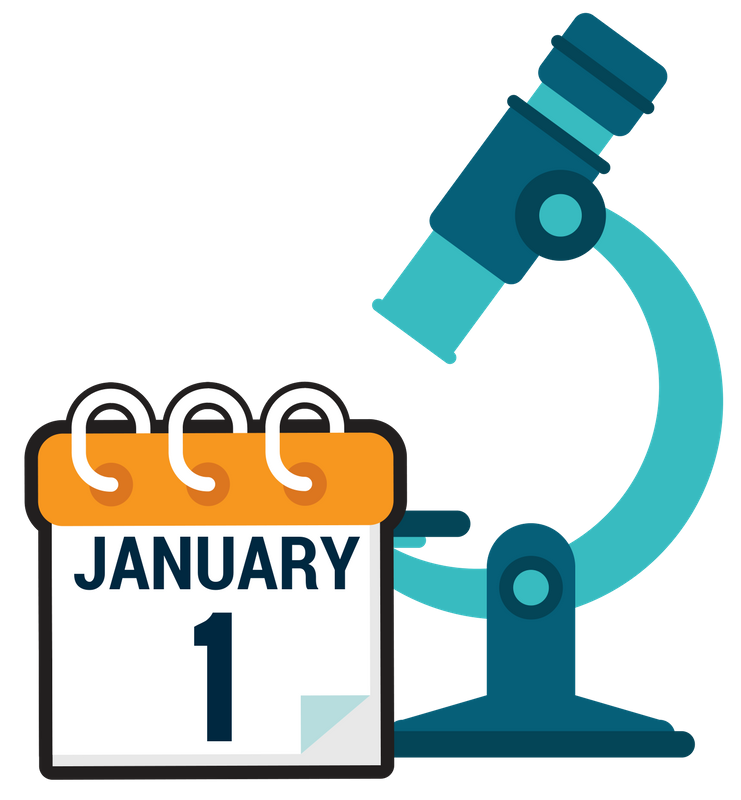 January 1 calendar icon with blue microscope