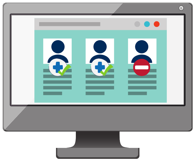 People icons on protocol interface illustration