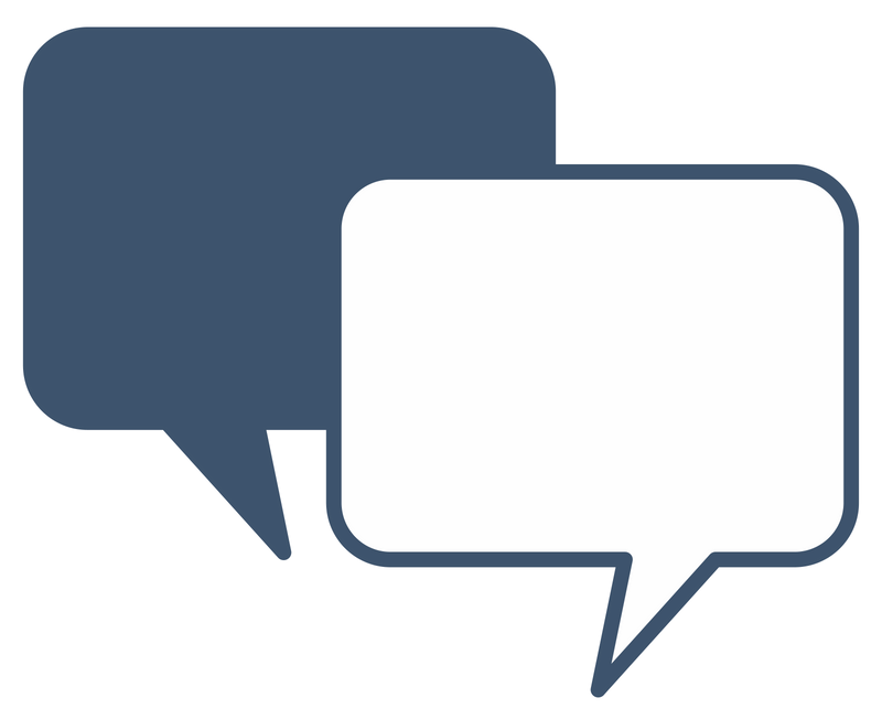 Blue quality assurance open dialogue icon