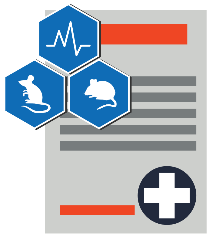 Surgical records illustration with mouse, rat, and vital signs icon