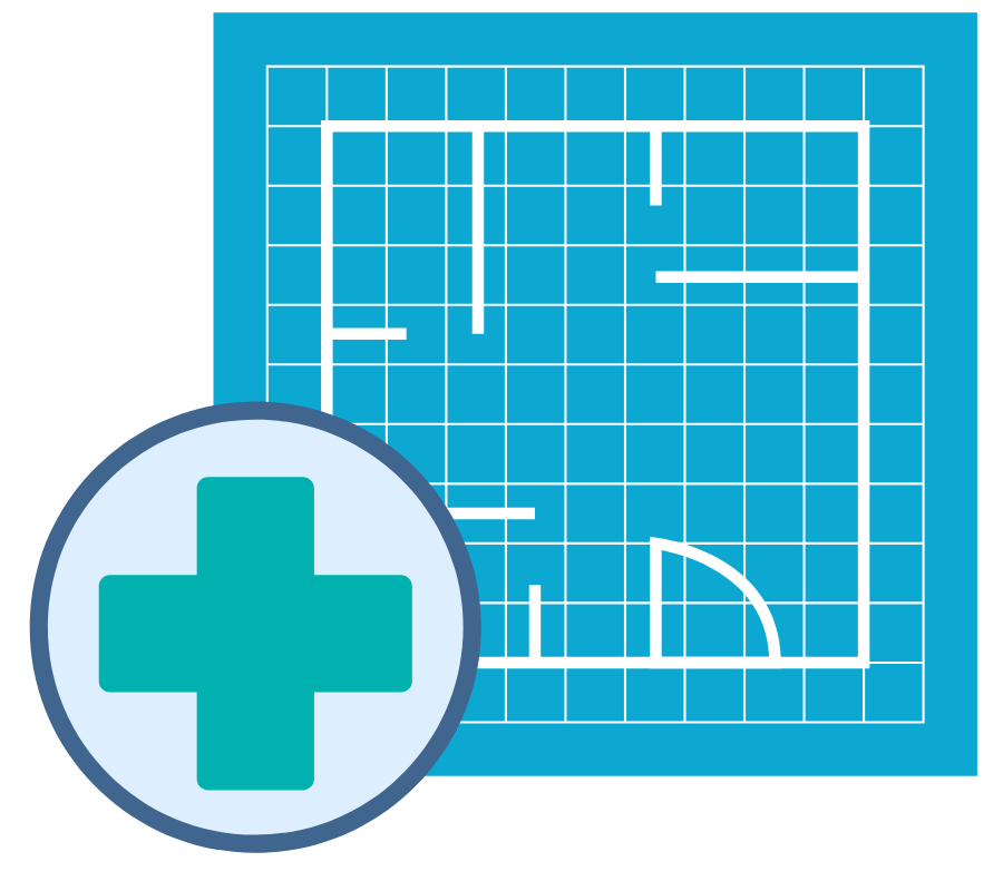 Blueprint icon to safeguard the research environment