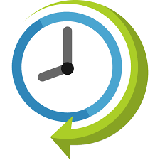 Arrow and time clock icon