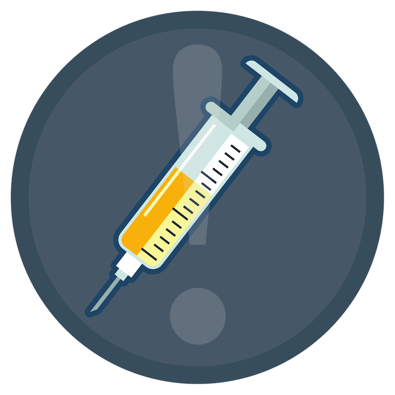 Blue dangerous needlestick icon