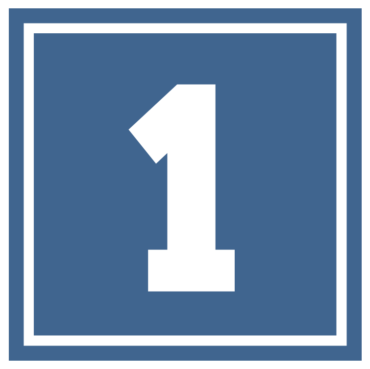 Blue number 1 square icon