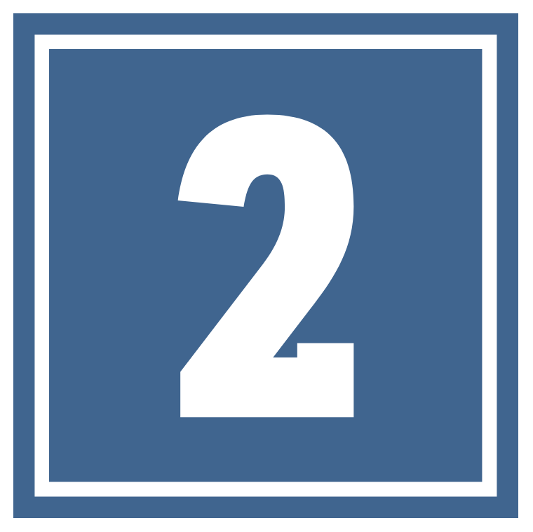 Blue number 2 square icon
