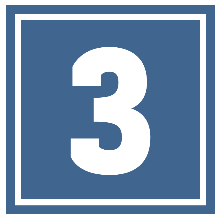 Blue number 3 square icon