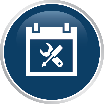 Blue tools and resources icon