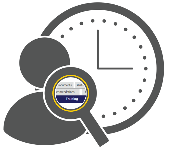 Person icon with reminder to run Protocol Training Reports