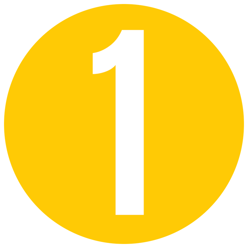 Yellow Number 1 Icon