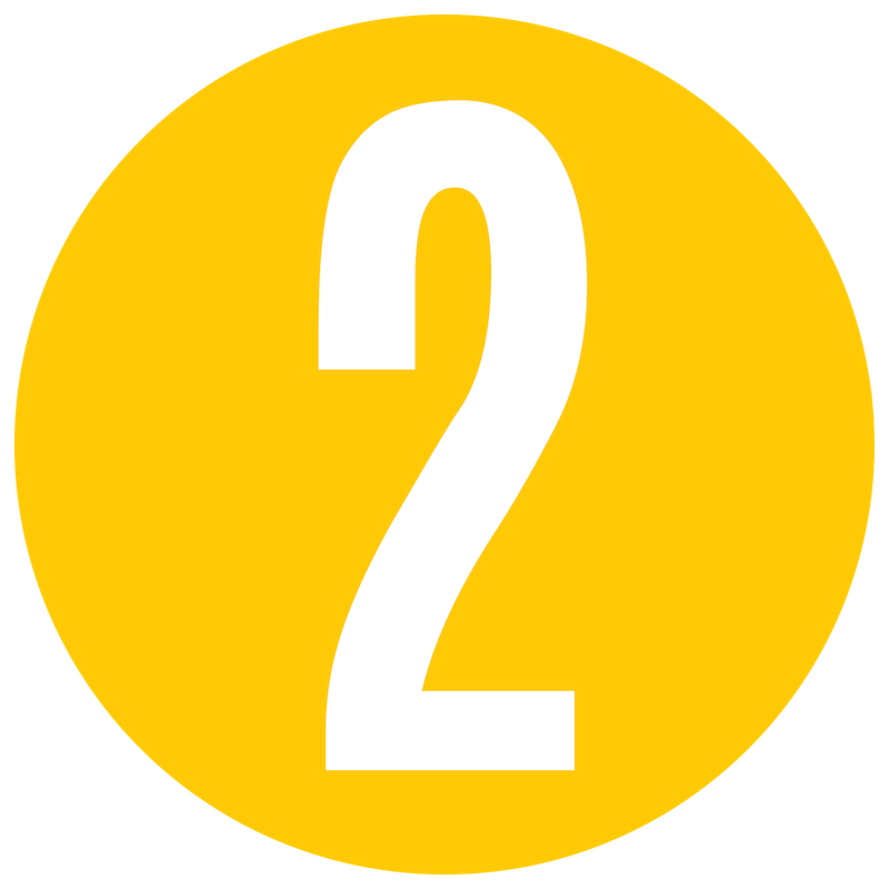 Yellow Number 2 Icon