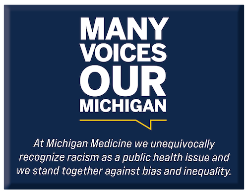 Many Voices Our Michigan logo with Michigan Medicine DEI statement