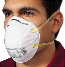 Laboratory technician wearing N-95 respirator