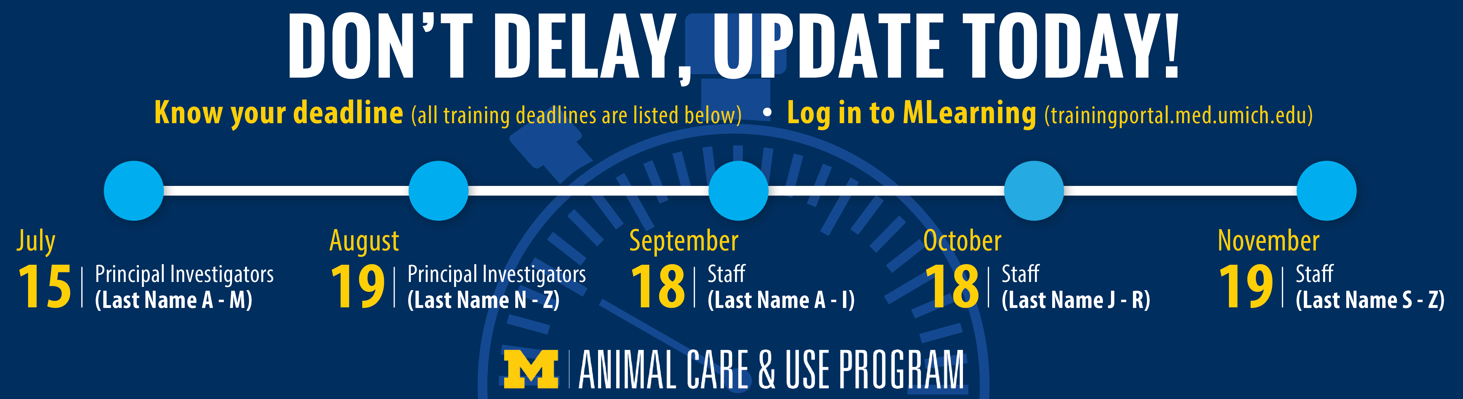 Infographic outlining deadlines for new animal care and use training requirement