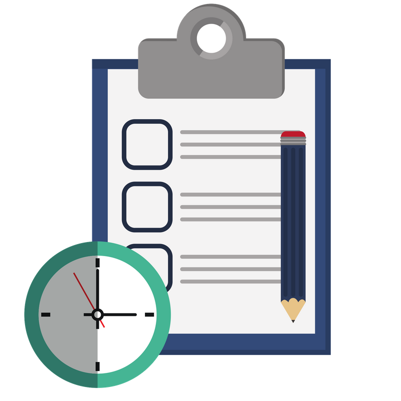 Checklist and clock icon