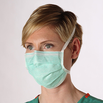 Laboratory technician wearing surgical mask